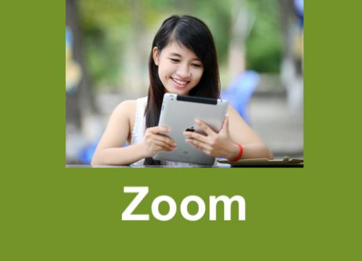 """Smiling teen holding an iPad with text, """"Zoom"""""""