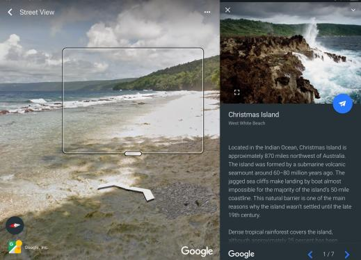 Screenshot of Google Earth; split screen with Zoom window enabled displaying coast line and text about Christmas Island.