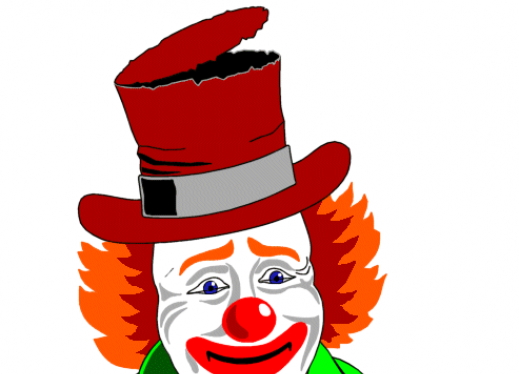The image is of a clown