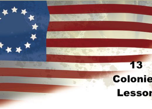 "US flag with 13 starts and text, ""13 Colonies Lesson"""