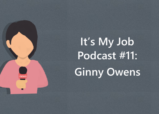 "Cartoon image of a girl holding a microphone and text, ""It's My Job Podcast #11: Ginny Owens"""