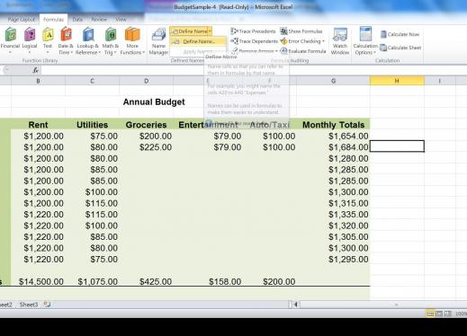 "Excel worksheet showing ""Define Name"" function open on the menu bar"