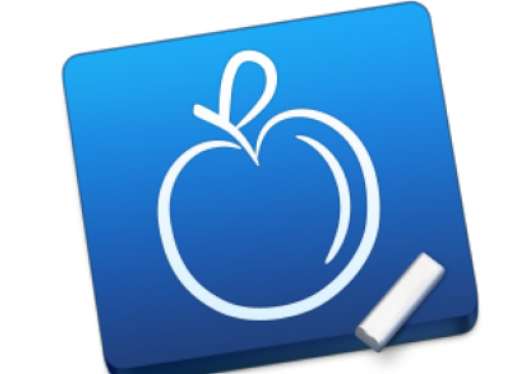 iStudiezPro Logo: outline of an apple beside a piece of chalk on a blue background.