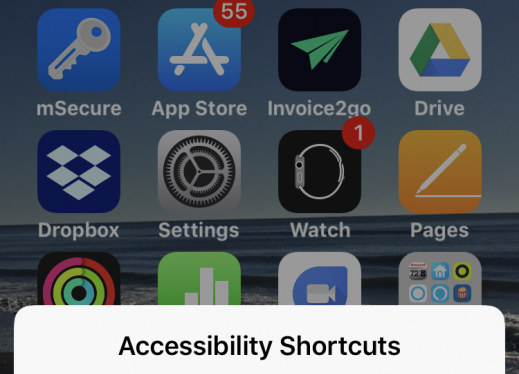 """Screenshot of iPhone's home screen with Accessibility shortcuts menu, """"Magnifier, VoiceOver, and Cancel""""."""