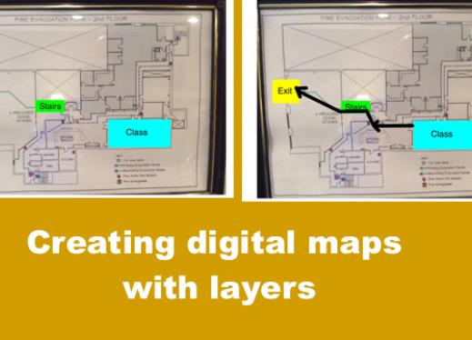 "Two maps with annotated landmarks and route with text, ""Creating digital maps with layers"""