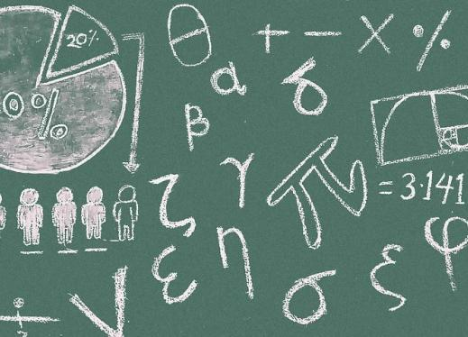 A Green Chalkboard With White Math Symbols Covering all over.