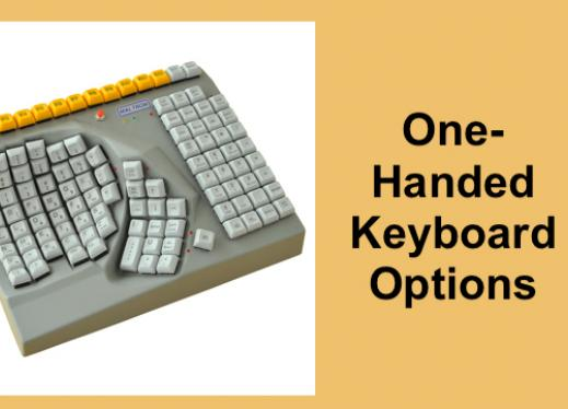 """Maltron one-handed ergonomic keyboard with text, """"One-handed Keyboard options""""."""
