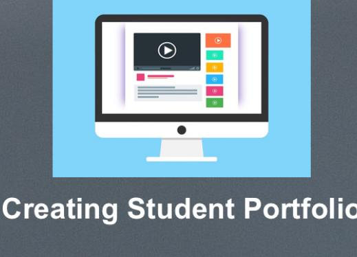 "drawing of a computer with video symboled and lines of text along with print, "" Creating Student Portfolio"""