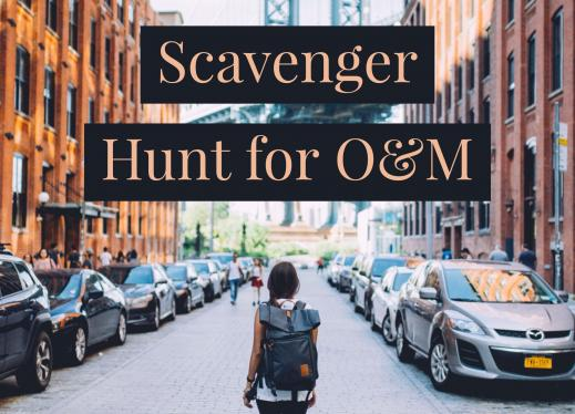 "Image of a girl walking down the middle of a city street with the text, ""Scavenger Hunt for O&M"