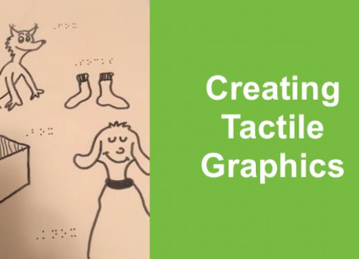 """Photo of tactile graphic with Dr. Seuss characters, box, and socks labeled in braille; Text, """"Creating Tactile Graphics"""""""