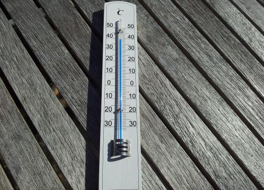 thermometer on a wood deck