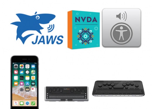 Images of 3 logos (JAWS, NVDA, and VoiceOver) and 3 devices (iPhone, Brailliant 40 braille display, & Polaris braille notetaker)