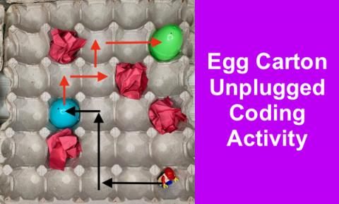 """Photo of Egg Cartons with Easter eggs and annotated arrows showing path; Text, """"Egg carton Unplugged Coding Activity"""""""