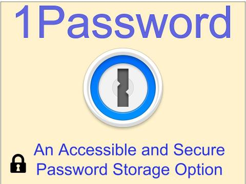 One Password logo on a yellow background with the title of the article in blue letters