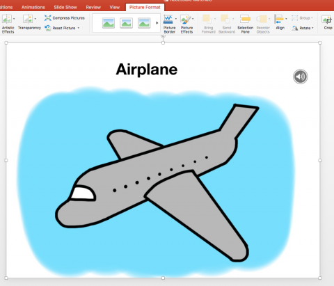PowerPoint slide from the Alphabet Book: Airplane image and sound clip.