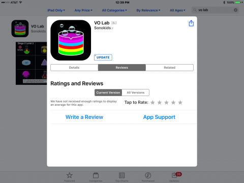 iPad screenshot with App Store app displaying VO Lab review screen.