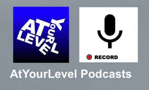 """AtYourLevel logo and image of a mic recoding, with text, """"AtYourLevel Podcasts"""""""