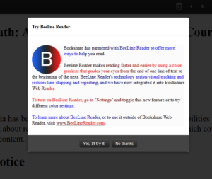 "Screen that comes up to Try Beeline Reader with a large ""B"" letter and text."
