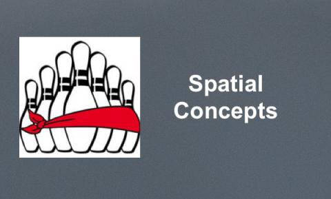 "Blindfold Bowling logo and text, ""Spatial Concepts"""