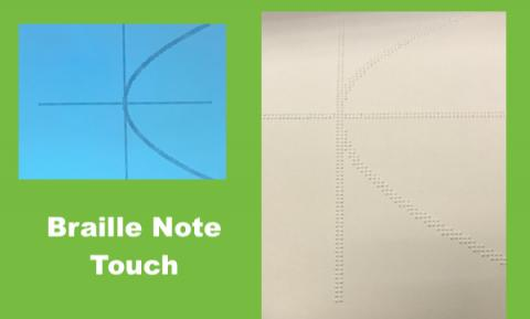 "Image of a plotted graph on the Braille Note Touch and same image embossed, with text, ""Braille Note touch"""