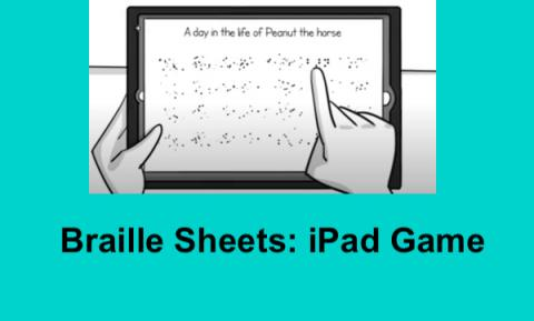"cartoon drawing of an iPad with a finger on the braille word ""barn"" on the answer sheet & text, ""Braille Sheets: iPad Game""."