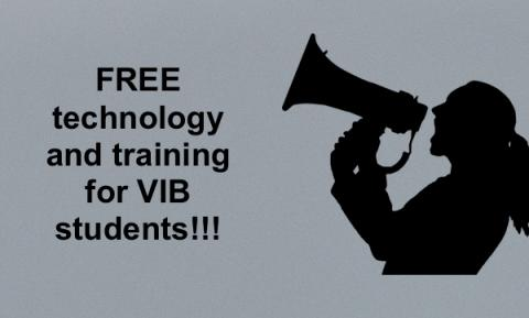 """Silhouette image of woman shouting into a megaphone and text, """"Free technology and training for VIB students!"""""""