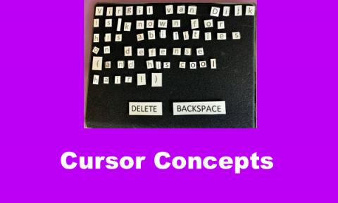 Tactile manipulative of print/braille letters, Delete and Backspace keys, & cursor used to teach cursor & screen reader concepts