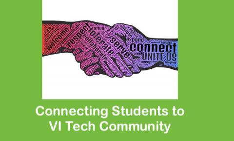 """Handshake with inspirational words on the hands; text, """"Connecting Students with VI Tech Community."""""""
