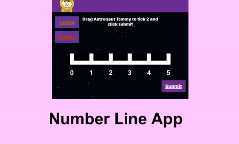 "Screenshot of Level 2: Drag Astronaut Tommy to tick 2 on the number line ranging 0-5. Text, ""Number Line App"""