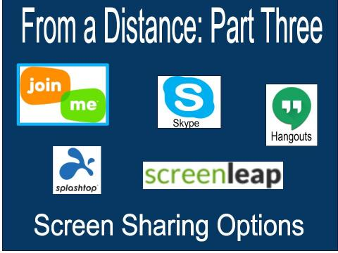 "Join.me, Skype 2, Google Hangout, Splashtop and screen leap logos and text, ""From a Distance: Part three Screen Sharing Options"""
