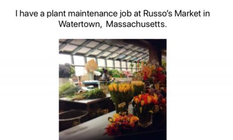 "Screenshot from ebook with image of working area in a flower shop and text, ""I have a plant maintenance job at Russo's Market."""