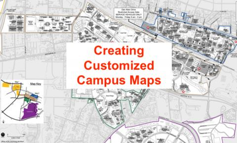 """Text: """"Creating Customized Campus Maps"""" with background of NCSU Main Campus map."""