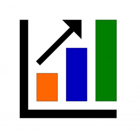 Image is a bar graph with an arrow pointing up.