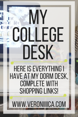 My college desk; here is everything I have at my dorm desk complete with shopping links! www.veroniiica.com