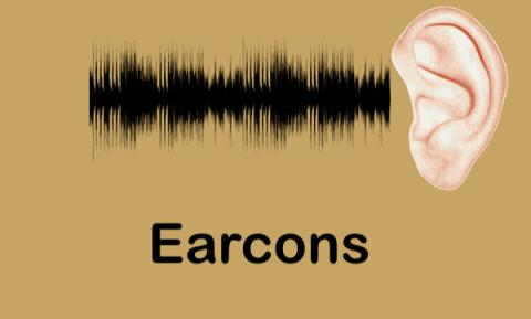 """Sound waves moving towards a human ear with text, """"Earcons"""""""