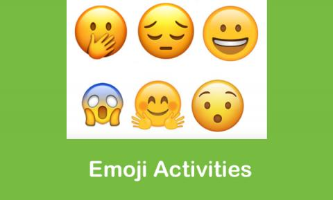 "6 face emojis displaying different emotions and text, ""Emoji Activities"""