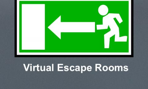 "Outline of cartoon person running to the door and text, ""Virtual Escape Rooms"""