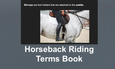 Image of a rider adjusting a stirrup and text, Horseback Riding Terms Book.