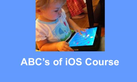 """Toddler touching an iPad screen with Text, """"ABC's of iOS Course"""""""