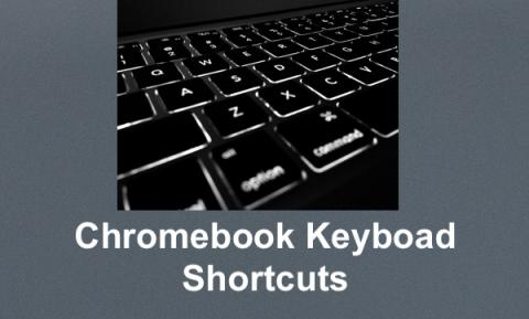 "Photo of a keyboard and text, ""Chromebook Keyboard Shortcuts"""