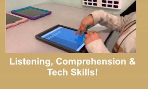 """7 Year old making two-finger double tap gesture on Kids Listen podcast app. Text, """"Listening, Comprehension & Tech Skills"""""""