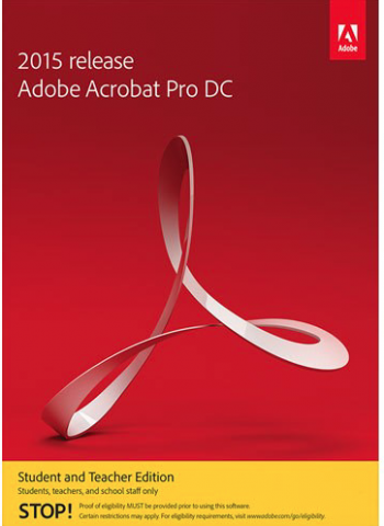 Adobe DC Logo: Red background with text: AdobeAcrobat Pro DC