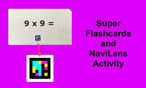 """APH flashcard with NaviLens tag and text, """"Super Flashcards and NaviLens Activity"""""""