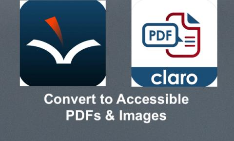 """Logos: Voice Dream Reader and Claro PDF and text, """"Convert to Accessible PDFs & Images"""""""