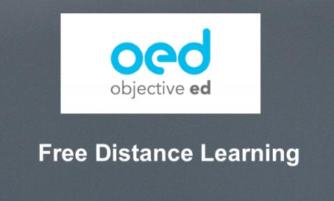 """ObjectiveEd Logo and text, """"Free Distance learning"""""""