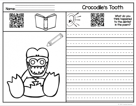 Screenshot of Crocodile's Tooth Worksheet with QR codes.