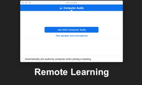 "Screenshot of Connecting a computer to join conferencing call and text, ""Remote Learning"""