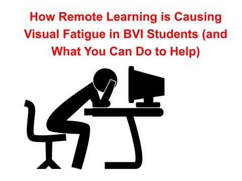 "Silhouette image of a dejected person leaning over a desk and computer with text, ""How Remote Learning is Causing Visual Fatigue"