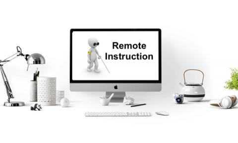 "Black and white image of a computer at home with screen displaying a cartoon person using a cane and text,"" Remote Instruction"""