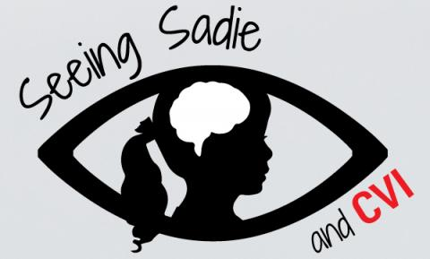 "website logo: silhouette of a young girl's head & outline of a brain inside an outline of an eye, with text ""Seeing Sadie & CVI"""